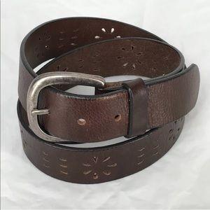 Gap Leather Belt Floral Cutout Boho Hippy Gypsy  S